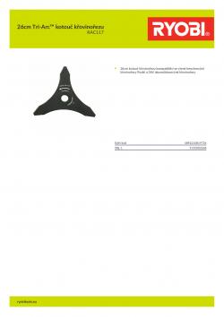 RYOBI RAC117 26cm Tri-Arc™ kotouč křovinořezu 5132002668 A4 PDF