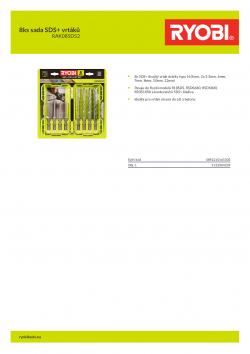 RYOBI RAK08SDS2 8ks sada SDS+ vrtáků 5132004209 A4 PDF