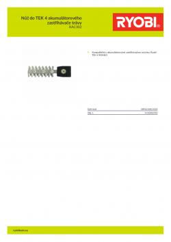 RYOBI RAC302 Nůž do TEK 4 akumulátorového zastřihávače trávy 5132002453 A4 PDF