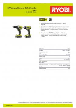 RYOBI R18DDID-220S 18V Akumulátorová 2dílná kombo sada 5133003577 A4 PDF