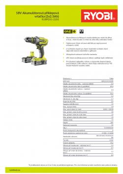RYOBI R18PD3 18V Akumulátorová příklepová vrtačka (2x2.5Ah) 5133003433 A4 PDF