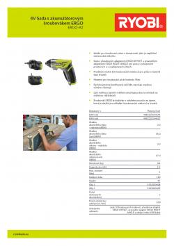 RYOBI ERGO-A2 4V Sada s akumulátorovým šroubovákem ERGO 5133003409 A4 PDF