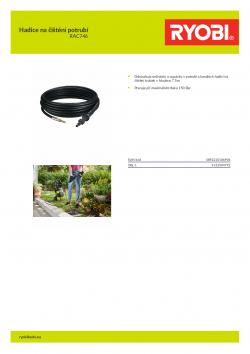 RYOBI RAC746 Hadice na čištění potrubí 5132004792 A4 PDF