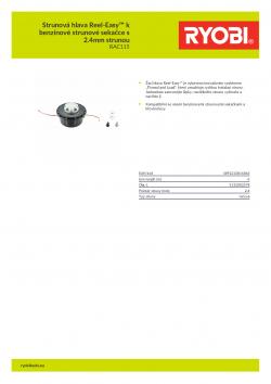 RYOBI RAC115 Strunová hlava Reel-Easy™ k benzínové strunové sekačce s 2.4mm strunou 5132002578 A4 PDF