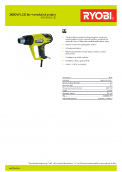 RYOBI EHG2000LCD 2000W LCD horkovzdušná pistole 5133001730 A4 PDF