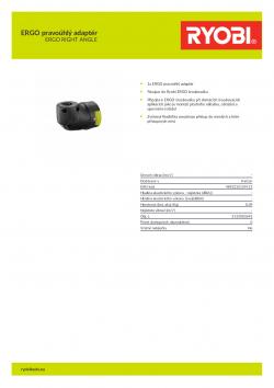 RYOBI ERGO RIGHT ANGLE ERGO pravoúhlý adaptér 5133003692 A4 PDF