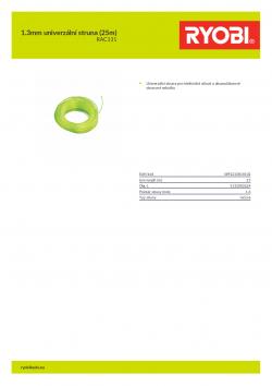 RYOBI RAC131 1.3mm univerzální struna (25m) 5132002624 A4 PDF