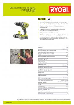 RYOBI R18PD3 18V Akumulátorová příklepová vrtačka (2x2.5Ah) 5133003345 A4 PDF
