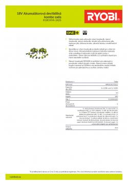 RYOBI R18CK9A-242S 18V Akumulátorová devítidílná kombo sada 5133004287 A4 PDF