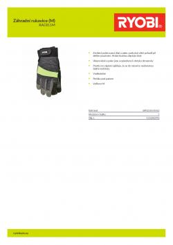 RYOBI RAC811M Záhradní rukavice (M) 5132002992 A4 PDF