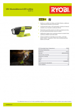 RYOBI R18T 18V Akumulátorová LED svítilna 5133003373 A4 PDF