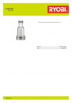 RYOBI RAC744 Vodní filtr 5132004790 A4 PDF