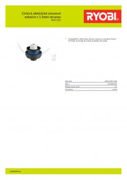 RYOBI RAC120 Cívka k elektrické strunové sekačce s 1.5mm strunou 5132002592 A4 PDF