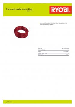 RYOBI RAC134 2.4mm univerzální struna (25m) 5132002627 A4 PDF