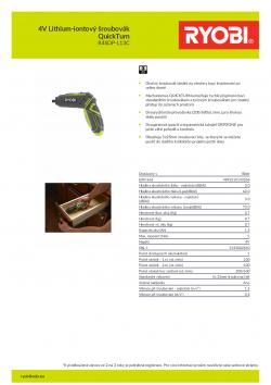 RYOBI R4SDP 4V Lithium-iontový šroubovák QuickTurn 5133002650 A4 PDF