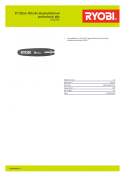 """RYOBI RAC235 8""""/20cm lišta do akumulátorové prořezávací pily 5132002589 A4 PDF"""