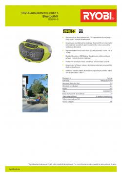 RYOBI R18RH 18V Akumulátorové rádio s Bluetooth® 5133002734 A4 PDF