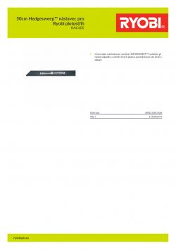 RYOBI RAC305 50cm Hedgesweep™ nástavec pro Ryobi plotostřih 5132002437 A4 PDF