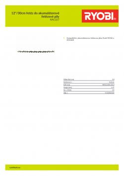 """RYOBI RAC227 12""""/30cm řetěz do akumulátorové řetězové pily 5132002436 A4 PDF"""