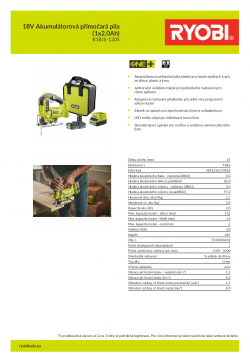 RYOBI R18JS 18V Akumulátorová přímočará pila (1x2.0Ah) 5133004232 A4 PDF