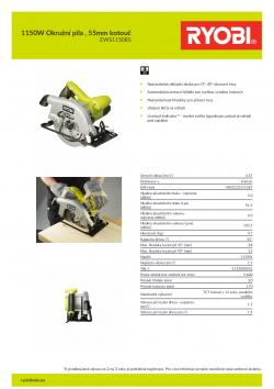 RYOBI EWS1150RS 1150W Okružní pila , 55mm kotouč 5133000552 A4 PDF
