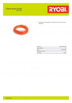 RYOBI RAC100 1.2mm struna (15m) 5132002637 A4 PDF