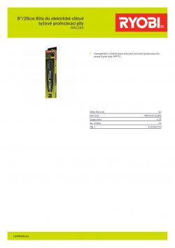 """RYOBI RAC243 8""""/20cm lišta do elektrické síťové tyčové prořezávací pily 5132002716 A4 PDF"""