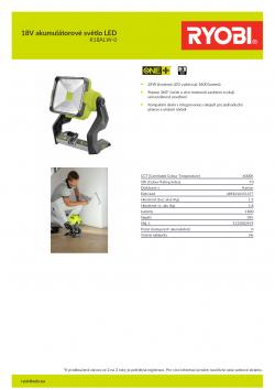RYOBI R18ALW 18V akumulátorové světlo LED 5133002919 A4 PDF