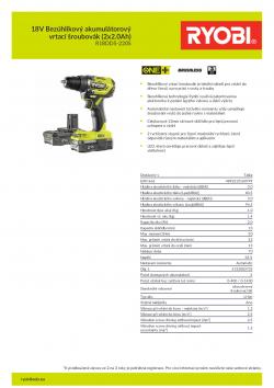 RYOBI R18DD5 18V Bezúhlíkový akumulátorový vrtací šroubovák (2x2.0Ah) 5133003733 A4 PDF