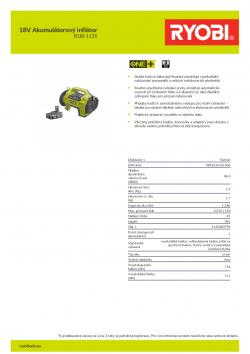 RYOBI R18I 18V Akumulátorový inflátor 5133003796 A4 PDF
