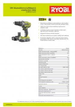 RYOBI R18PD3 18V Akumulátorová příklepová vrtačka (2x1.3Ah) 5133003696 A4 PDF