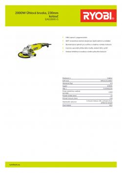 RYOBI EAG2000 2000W Úhlová bruska, 230mm kotouč 5133002193 A4 PDF