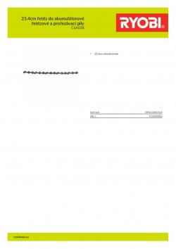 RYOBI CSA038 25.4cm řetěz do akumulátorové řetězové a prořezávací pily 5132000062 A4 PDF