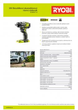 RYOBI R18IW7 18V Bezuhlíkový akumulátorový rázový utahovák 5133004220 A4 PDF