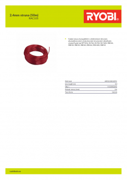 RYOBI RAC105 2.4mm struna (50m) 5132002642 A4 PDF
