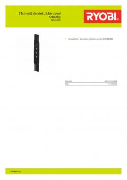 RYOBI RAC420 33cm nůž do elektrické travní sekačky 5132002771 A4 PDF
