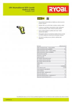 RYOBI R18SDS 18V Akumulátoroé SDS+ kombi kladivo (2.5Ah) 5133003818 A4 PDF