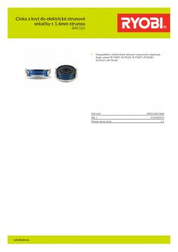 RYOBI RAC122 Cívka a kryt do elektrické strunové sekačky s 1.6mm strunou 5132002670 A4 PDF