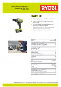 RYOBI R18DD3 18V Akumulátorový vrtací šroubovák (2x1.5Ah) 5133003774 A4 PDF