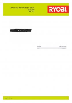 RYOBI RAC421 40cm nůž do elektrické travní sekačky 5132002773 A4 PDF