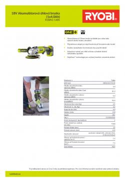 RYOBI R18AG 18V Akumulátorová úhlová bruska (1x4.0Ah) 5133004301 A4 PDF