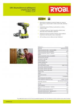 RYOBI R18PD2 18V Akumulátorová příklepová vrtačka (2x1.3Ah) 5133003824 A4 PDF