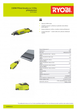 RYOBI EHT150 150W Přímá bruska se 115ks příslušenství 5133000754 A4 PDF