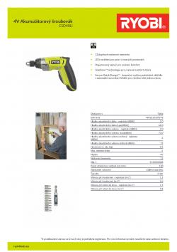 RYOBI CSD41 4V Akumulátorový šroubovák 5133000088 A4 PDF