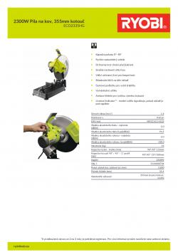 RYOBI ECO2335 2300W Pila na kov, 355mm kotouč 5133000704 A4 PDF
