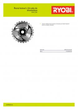 RYOBI RAC136 Řezný kotouč s 26 zuby do křovinořezu 5132002763 A4 PDF
