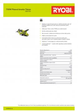 RYOBI EBS750 750W Pásová bruska 76mm 5133002276 A4 PDF