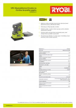 RYOBI R18SS4 18V Akumulátorová bruska na čtvrtinu brusného papíru 5133002918 A4 PDF
