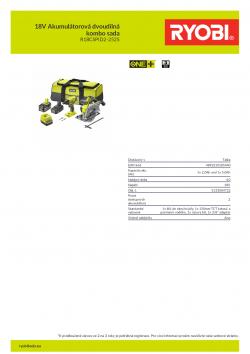 RYOBI R18CSPID2-252S 18V Akumulátorová dvoudílná kombo sada 5133004722 A4 PDF