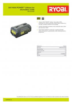 RYOBI BPL3650D 36V MAX POWER™ Lithium-Ion akumulátor 5.0Ah 5133002166 A4 PDF
